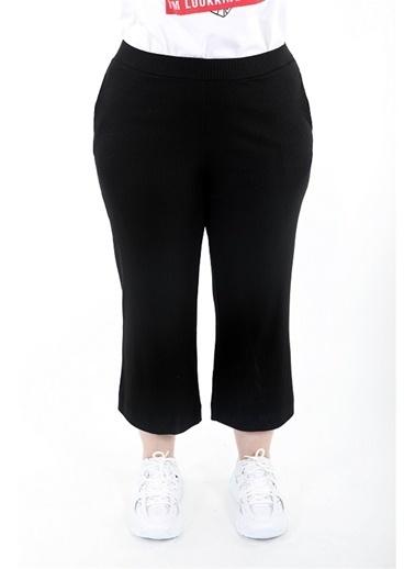 Luokk Robby Beli Lastikli Rahat Kesim Yanları Cepli Kadın Pantolon Gri